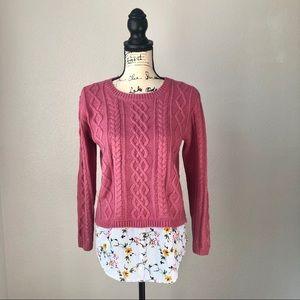 Monteau NWOT Sweater Patch Elbow Knit Floral L
